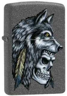 Zippo Wolf Skull Feather 29863 lighter