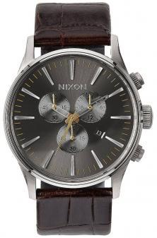 Nixon Sentry Chrono Leather Brown Gator A405 1887 watch